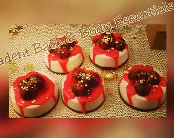 Chocolate cherry cheesecake soap. 1ea