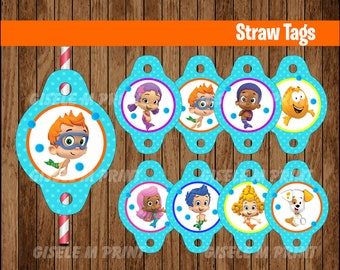 Bubble Guppies Straw Tags, Printable Bubble Guppies Straw toppers, Bubble Guppies party Straw Tags instant download