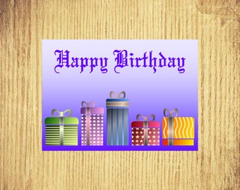 "Presents for You ~ Birthday Card ~ 5"" x 7"" Landscape, Folded"