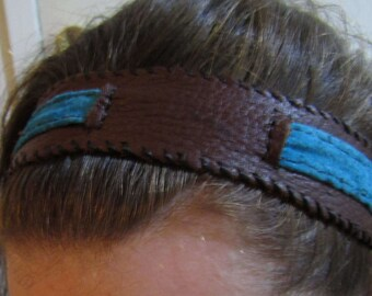 Brown and Blue Leather Headband