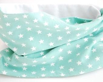 Cowl scarf - Mint green stars
