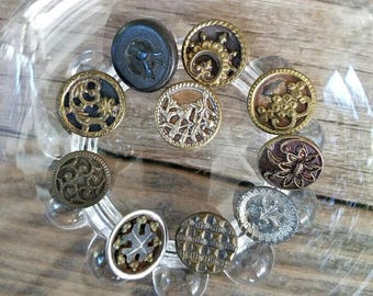 Victorian Buttons – Ten Different Buttons – Including Goodyear Hard Rubber Button