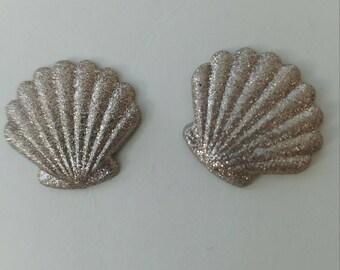 Gold glitter sea shell earrings