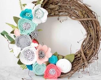 Felt Flower Wreath, Grapevine Wreath, Colorful Floral Decor