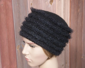 "Black crochet winter hat for women or teen-girl, black ""kubanka"", warm black hat"