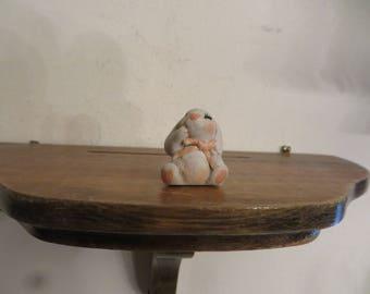 Dollhouse miniature bunny rabbit figurine vintage w/ free ship.