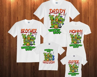 TMNT Ninja Turtles Birthday Long Sleeve and Short Sleeve Shirt, Custom personalized t-shirts for all family, t2