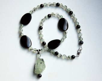 Prehnite Pendant Necklace with Black Glass, Black Jasper and Sterling Silver