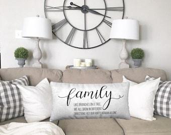 Family Quote Throw Pillow, home decor, wedding gift, engagement present, housewarming gift, cushion cover, farmhouse decor