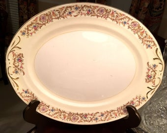 Crown Potteries Co. platter 15 inches! Wow!  Made in USA!
