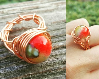 Copper Fire Wire Wrapped Rings