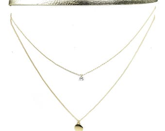 TCFF Women's Two Layered Chains with Crystal Stone and Gold Suede Leather Choker Necklace