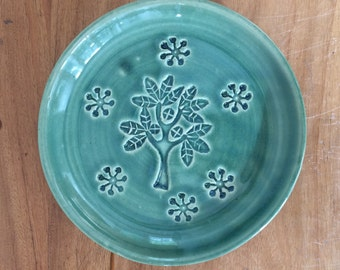 Small Clay Plate, Spoon Rest, Jewelry Dish, Handmade Green Glazed Pottery Plate with Tree and Blossom Stamps.