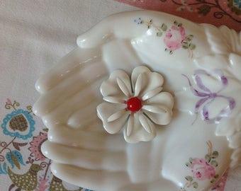 Vintage White Enamel 1970's Flower Brooch