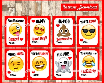 Printable Kids Valentines Day Cards Emoji