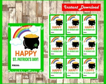 St. Patrick's Day tags instant download , Printable Happy St Patrick's Day gift tags, Happy St Patrick's Day cards