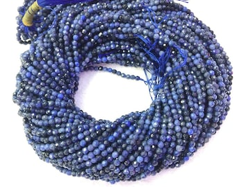 Natural Dumortierite Beads Faceted 2mm 3mm Tiny Blue Dumortierite Beads Natural Blue Small Gemstone Beads small Navy Blue Spacer Beads