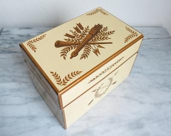 Vintage Tin Box, Yellow Desk Accessory Her, Coworker Gift, Keepsake Box, Home Decor, Kitchen Decor, Decorative Tea Box, Jewelry Box