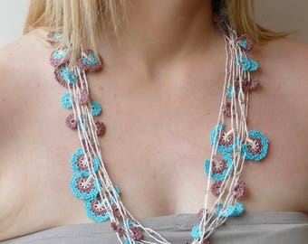 Oya necklace, Turkish lace crochet - length 3 m or 118.11 inch