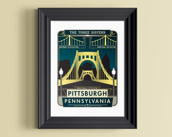 Pittsburgh art | Pittsburgh print | Pittsburgh gifts | Pittsburgh skyline | Pittsburgh bridge | Pittsburgh wall decor | Pennsylvania art