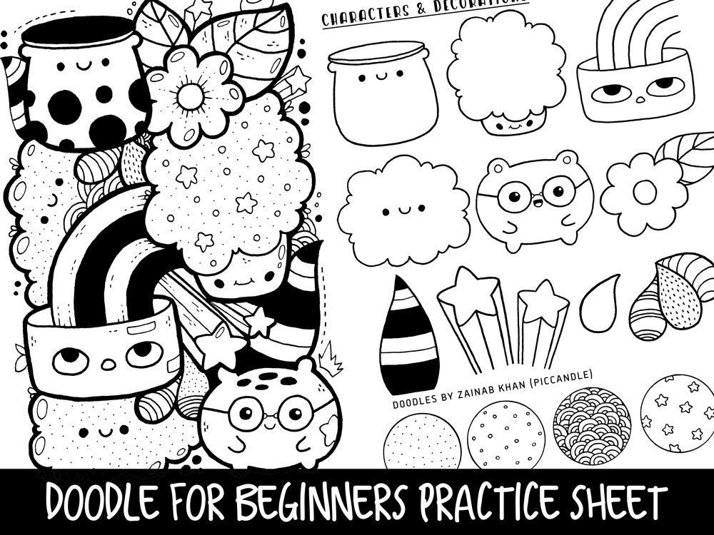 doodle for beginners reference practice printable