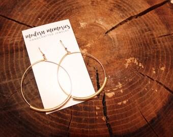 Gold Tube Hoop Earrings   minimalist hoops, gold hoop earrings