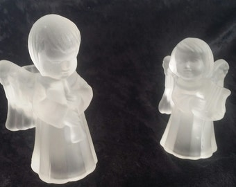 Frosted glass Angel Candle Holders