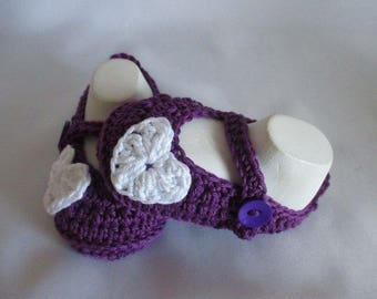 Baby shoes of Mary Janes ballerinas purple violet about Gr. 17/18 foot approx 11 cm cotton