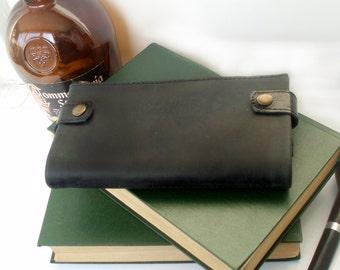Mens black leather wallet Card holder zipper Business card men leather bag Gift for man Convenient purse for phone big folding wallet travel
