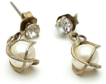Miniature Tiny Silver Tone Drop Earrings Clear Rhinestone Vintage from the 90s Dangle Cute girl's gift