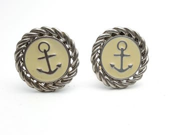 Clip On Anchor Nautical Beige Earrings Silver Tone Metal Stud Earrings Vintage 80s Round Nautical Rockabilly Sailor outfit rock and roll