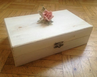 Jewelry Organizer wood, porcelain rose