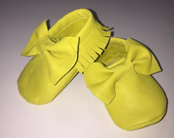 Baby baby baby booties with bow moccs loafers real leather