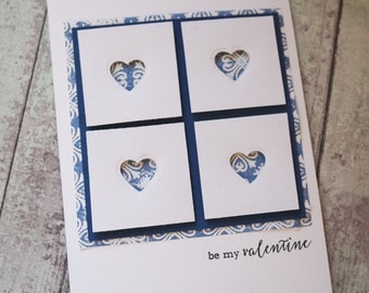 Be my Valentine card / blue hearts card / Blue valentine card / Handmade card / Cards UK / Simple valentine card / Valentine's Day