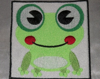 Embroidered Lime Green Happy Froggy Frog Huge Eyes Anime Patch Iron On Sew USA