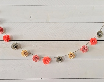 Handmade Sheet Music Paper Flower Garland- 6 ft.