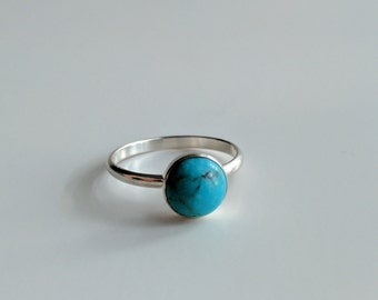 Turquoise Ring, Sterling Silver Turquoise Ring, Turquoise Cabochon Ring, Sterling Silver Turquoise Cabochon Ring, Boho Chic Turquoise Ring