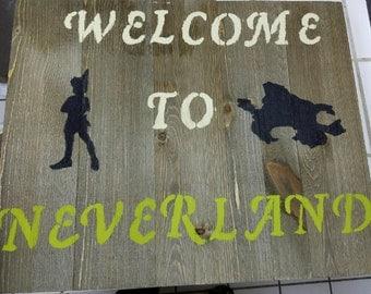 Peter Pan wood sign