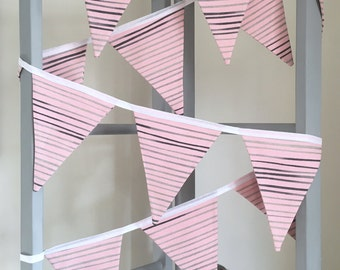 Pink, Grey and Black Stripe Fabric Bunting Garland Flag Decoration - Handmade by BNTNG