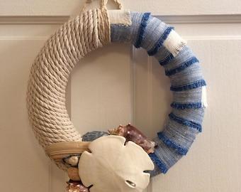 "10"" wreath-blue-ivory-linen-twisted rope-seashells-sand dollar-beach-ocean-sea-beach house-jeans-summer-foam wreath form-home decor"