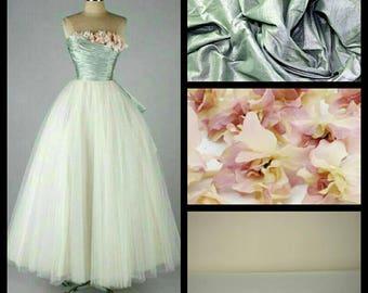 Custom Made 1950's Mint Taffeta and flower bouquet top Strapless Tulle Wedding Dress