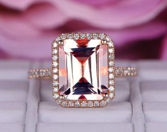 7X9mm Morganite wedding ring/14k rose gold diamond band/Halo Stacking ring/Emerald cut pink morganite ring/Promise bridal ring/Pave set