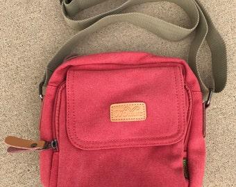 Red Canvas Crossbody, Messenger Bag