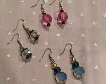 Pink/Blue/Clear earring set