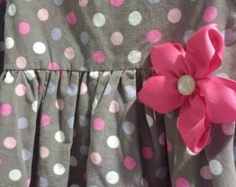 Pink polka dot girl's dress, corduroy