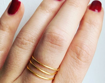 24K Gold Plated Spiral Ring • Spiral ring • Layered ring • Stackable ring