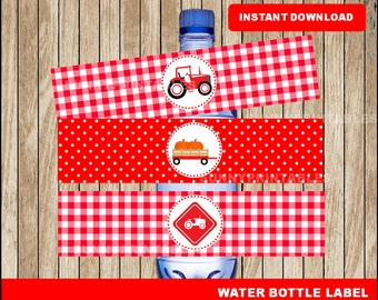 Tractor water bottle labels; printable Red Tractor water, Farm party water bottle instant download