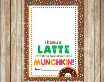 Printable Thanks a Latte Cards ,  Printable Gift Card Holder , Printable Dunkin Donuts Inspired instant download