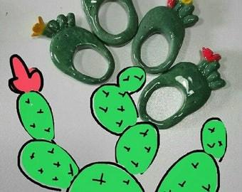 Prickly pear ceramic Ring