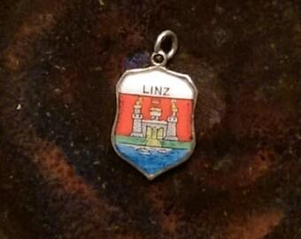 Linz Austria vintage sterling silver enamel travel shield charm or pendant